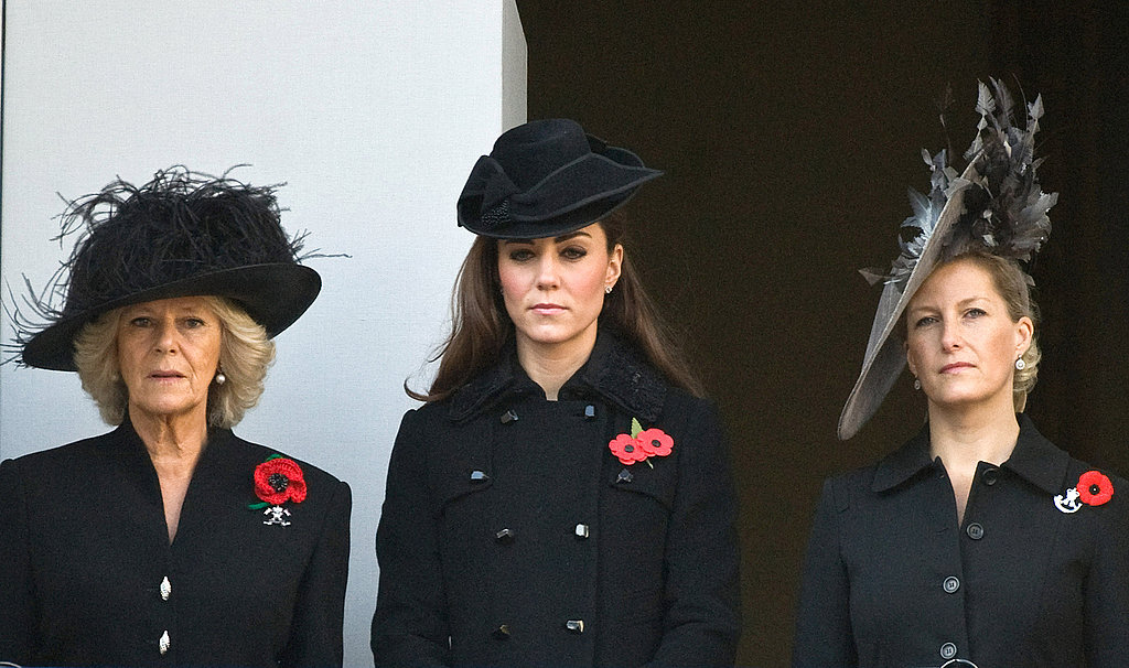 Camilla Parker Bowles, Kate Middleton, and Sophie Rhys-Jones had a moment of silence for fallen soldiers.