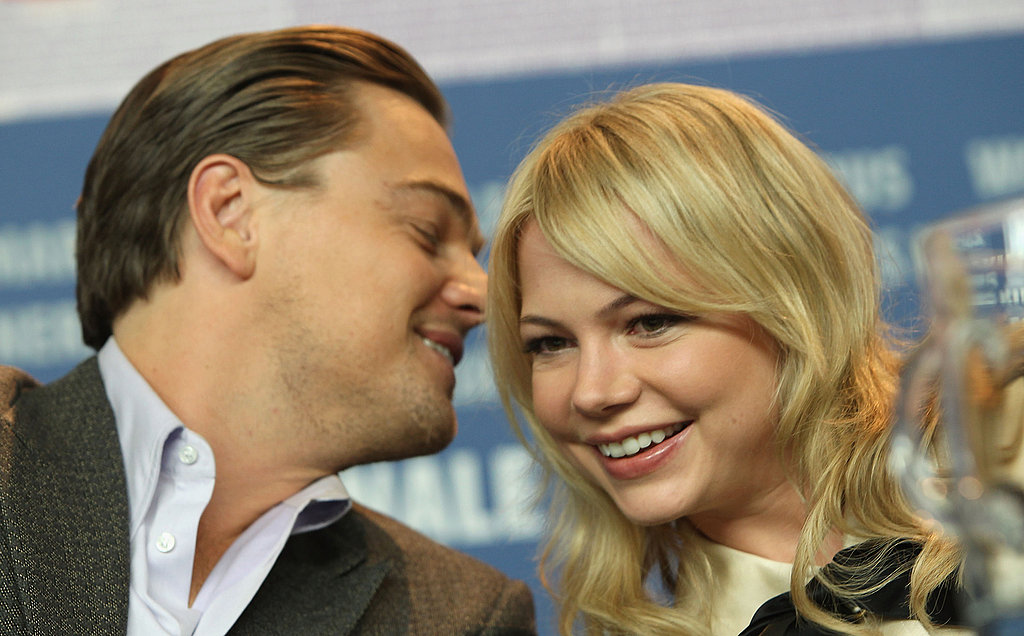 Leonardo DiCaprio laughed with Michelle Williams at a press conference for Shutter Island in 2010.