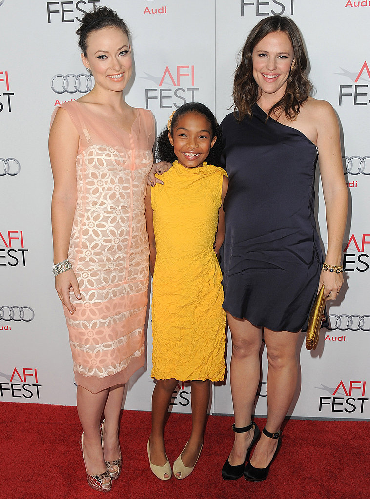 Jennifer Garner and Olivia Wilde wrapped their arms around co-star Yara Shahidi at the AFI Fest screening of Butter.