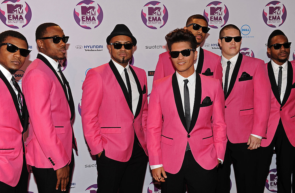 Bruno Mars wowed in a pop of pink.