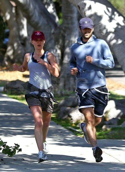 Natalie Portman and her fiancé Benjamin Millepied exercised together.