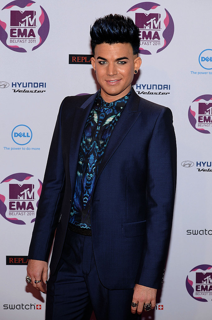 Adam Lambert looked chic in blue.