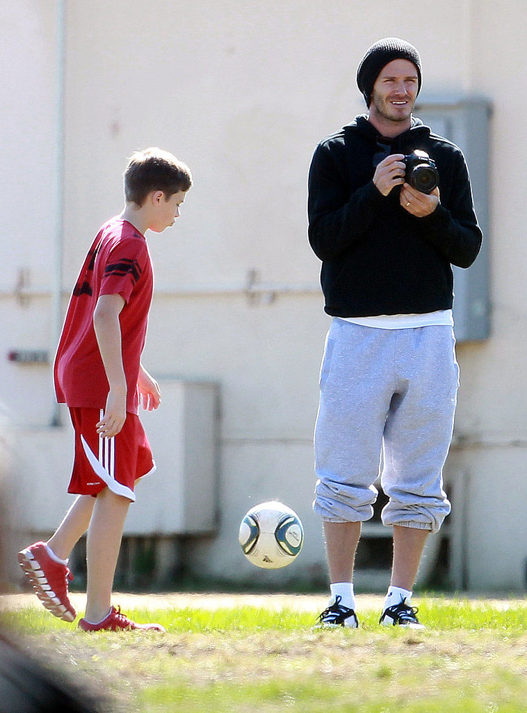 David Beckham was a proud papa at his sons' soccer game.