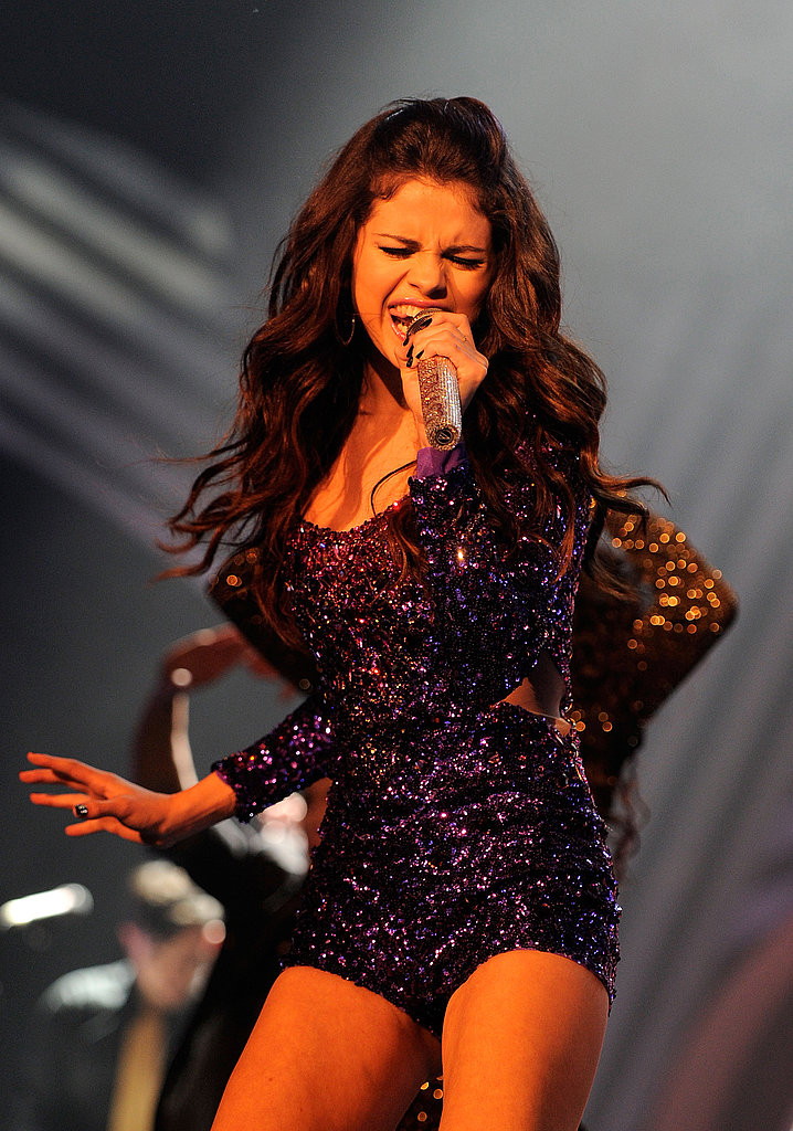 Selena wore purple sparkles on stage.