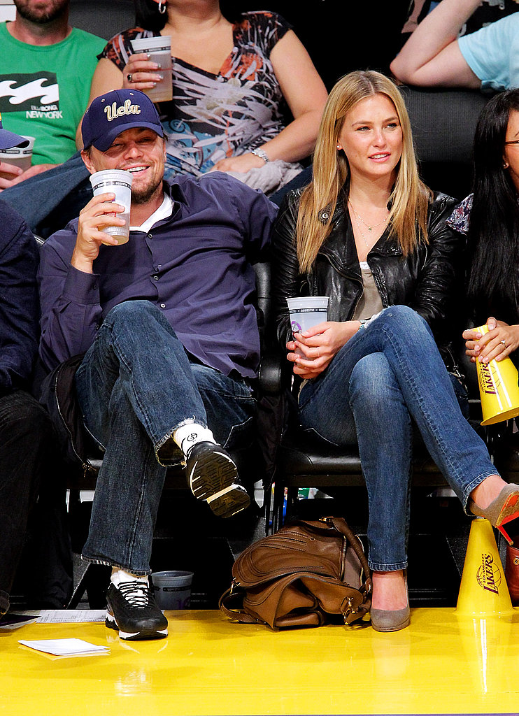 In April 2010, Leonardo DiCaprio sat courtside at an LA Lakers game with then-girlfriend Bar Refaeli.