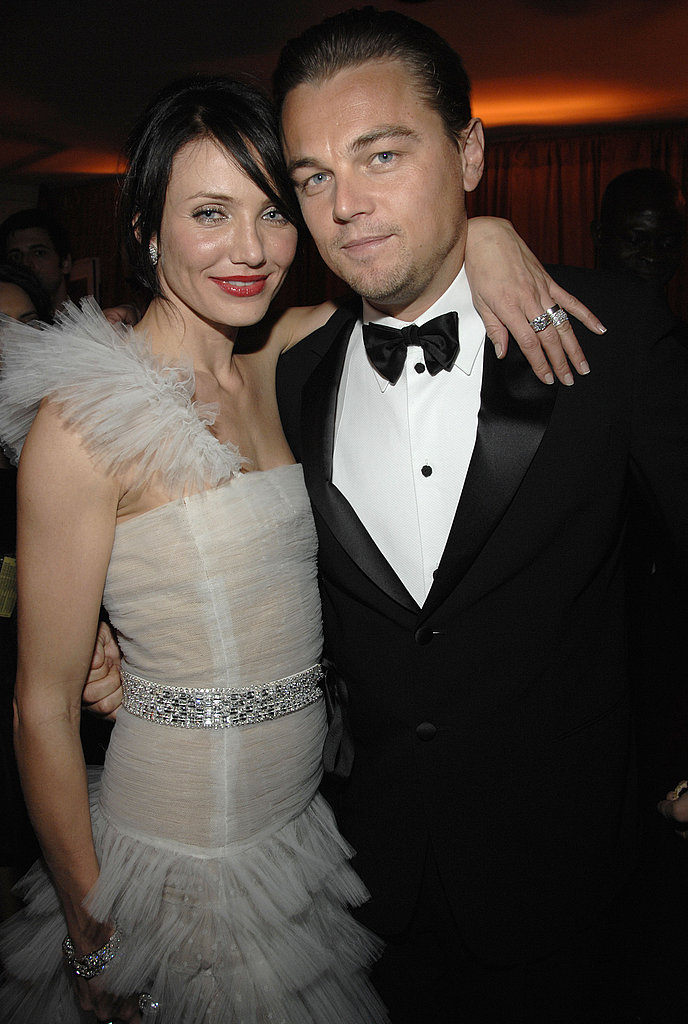 Leonardo DiCaprio and a brunette Cameron Diaz reunited at a Golden Globes after-party in 2007.
