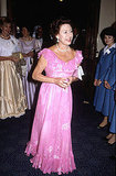 Princess Margaret arrived for a performance of Swan Lake by the London Festival Ballet in 1982.