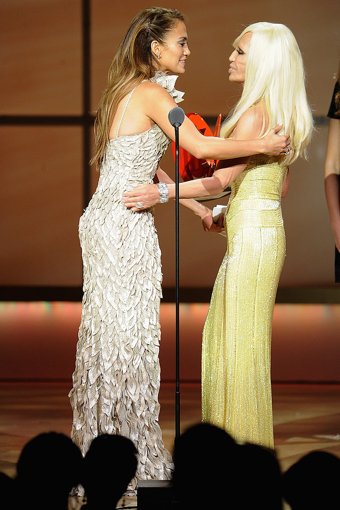 Donatella Versace and Jennifer Lopez went in for a hug.