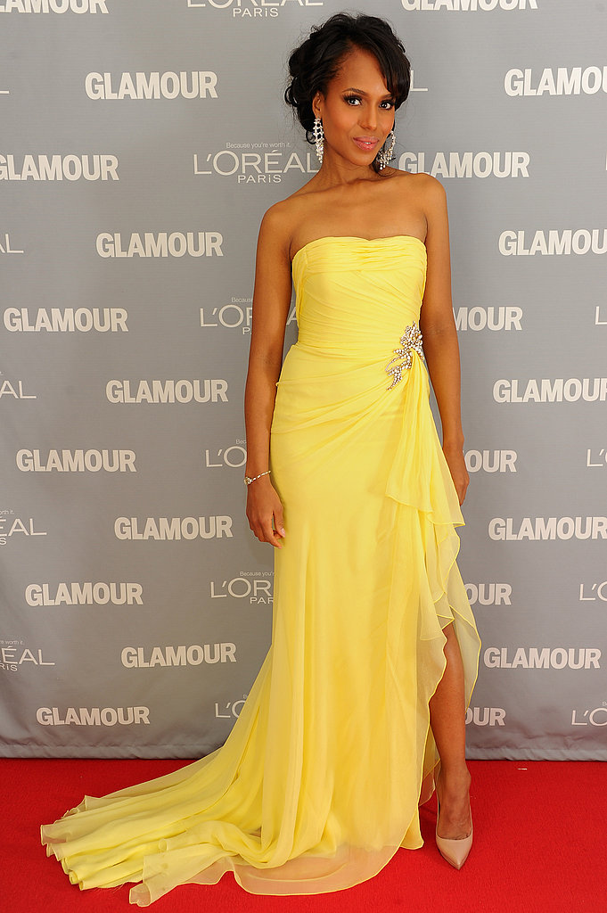 Kerry Washington wore a bright yellow strapless dress.