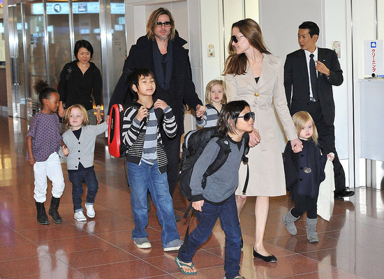 Brad, Angelina, and All Six Kids Touch Down in Tokyo