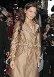 Katie Holmes wore a metallic coat in NYC.