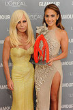 Donatella Versace presented Jennifer Lopez a Glamour Women of the Year award.