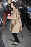 Katie Holmes perked up with a warm beverage from Starbucks.