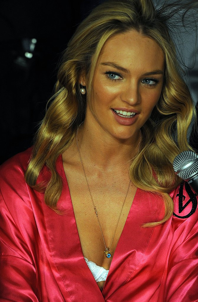 Candice Swanepoel backstage at the Victoria's Secret Fashion Show.