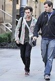 Penn Badgley arriving to the set of Gossip Girl.