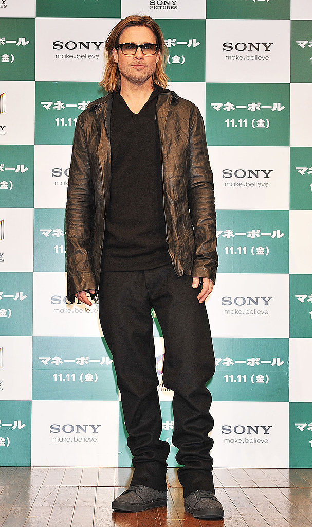 "Brad Pitt Goes Rugged to Wrap Up Moneyball Time in ""Inspirational"" Tokyo"