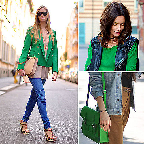 Street Style and Pictures of Celebrities Wearing Bright, Emerald Kelly Green! Shop the Colour Trend Online!