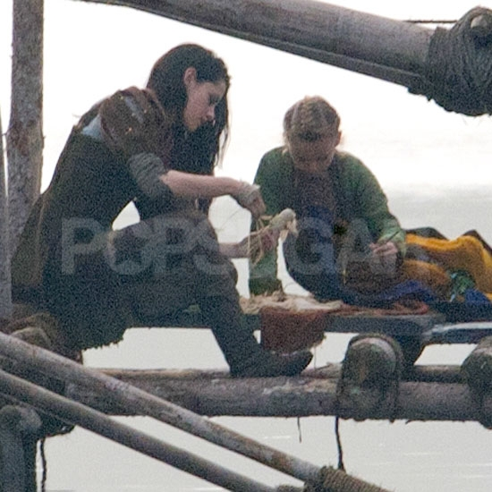 Kristen Stewart on on location for Snow White and the Huntsman.