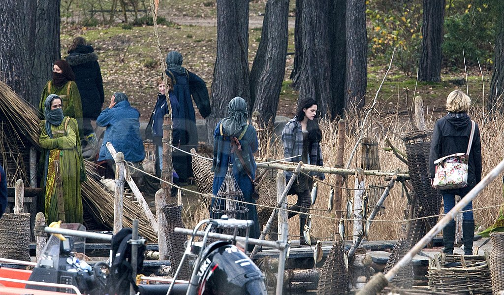 Kristen Stewart walking around the set of Snow White and the Huntsman.