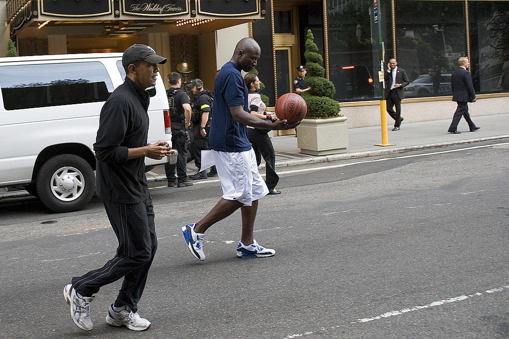 Reggie and the president head to play basketball during a visit to NYC.