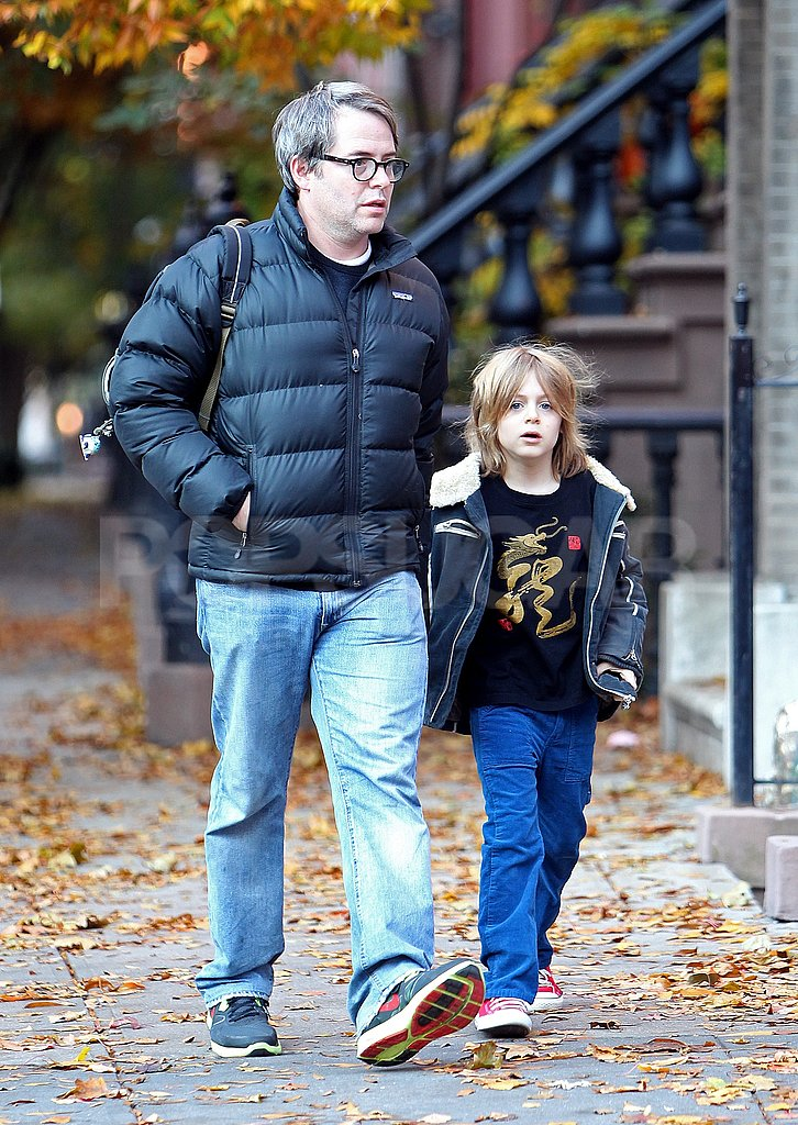 Matthew Broderick walked with James Wilkie Broderick among NYC's changing Fall leaves.