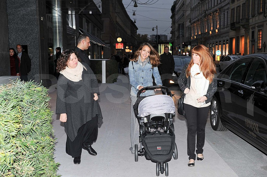 Jessica Alba and Lauren Andersen with baby Haven in Milan.