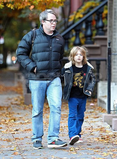 Matthew Broderick and James Wilkie Broderick went for walk in the Fall.