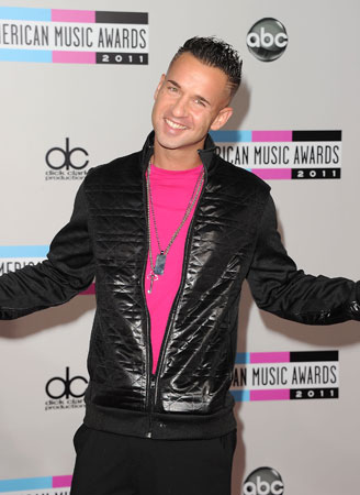 "Mike ""The Situation"" Sorrentino arrived in a bright pink shirt."
