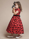Flocked Polka-Dot Taffeta Dress With Sleeves