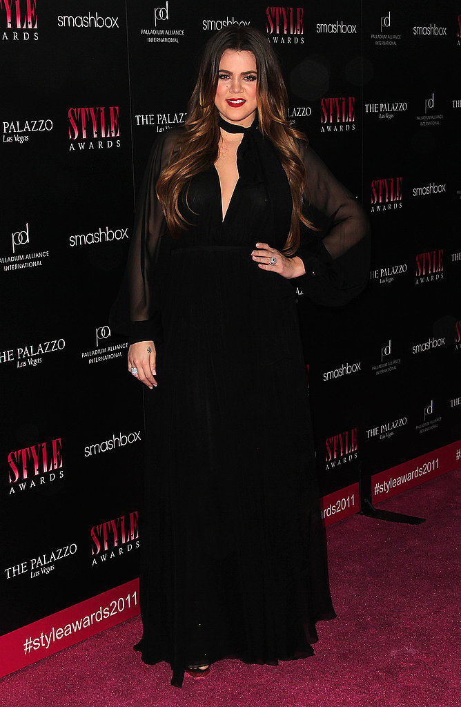 Khloe Kardashian dressed in all black.