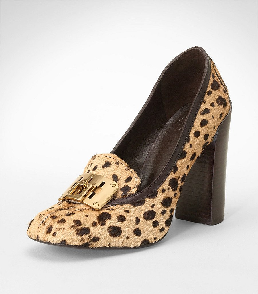 A covetable version, thanks to calf hair and a standout leopard print.   Tory Burch Howie High Heel Haircalf Pump ($375)