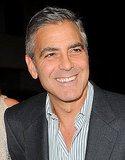 George Clooney in a pinstripe shirt at the premiere of The Descendants in LA.