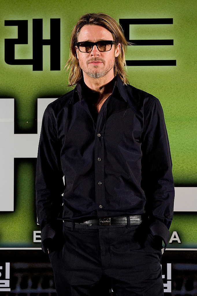 Brad Pitt looked hot at a Seoul press conference for his movie Moneyball.