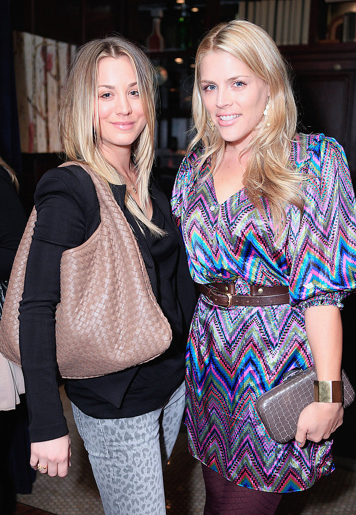 Blond gals Kaley and Busy looked chic in their trendy looks.