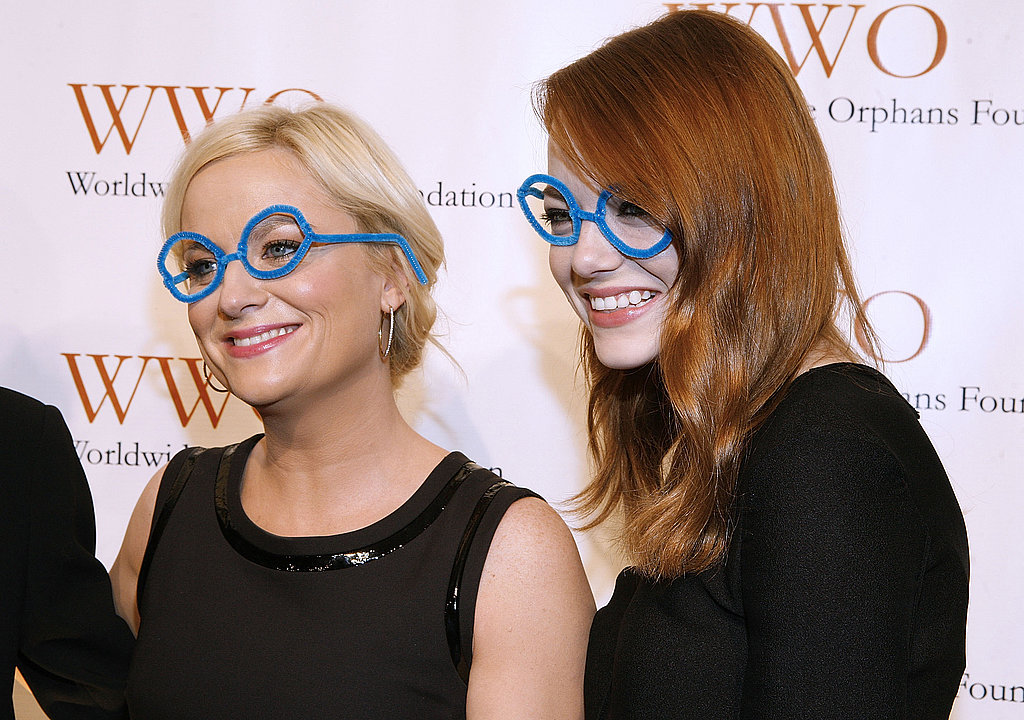Amy Poehler and Emma Stone posed in their silly glasses.