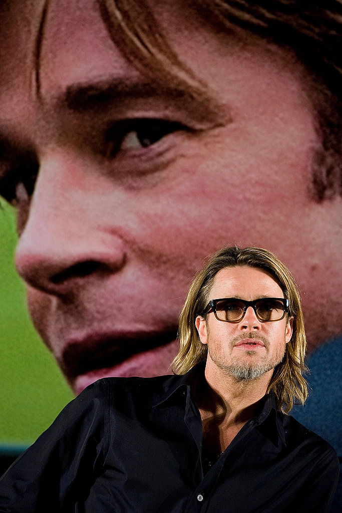 Brad Pitt shows off Moneyball in South Korea.
