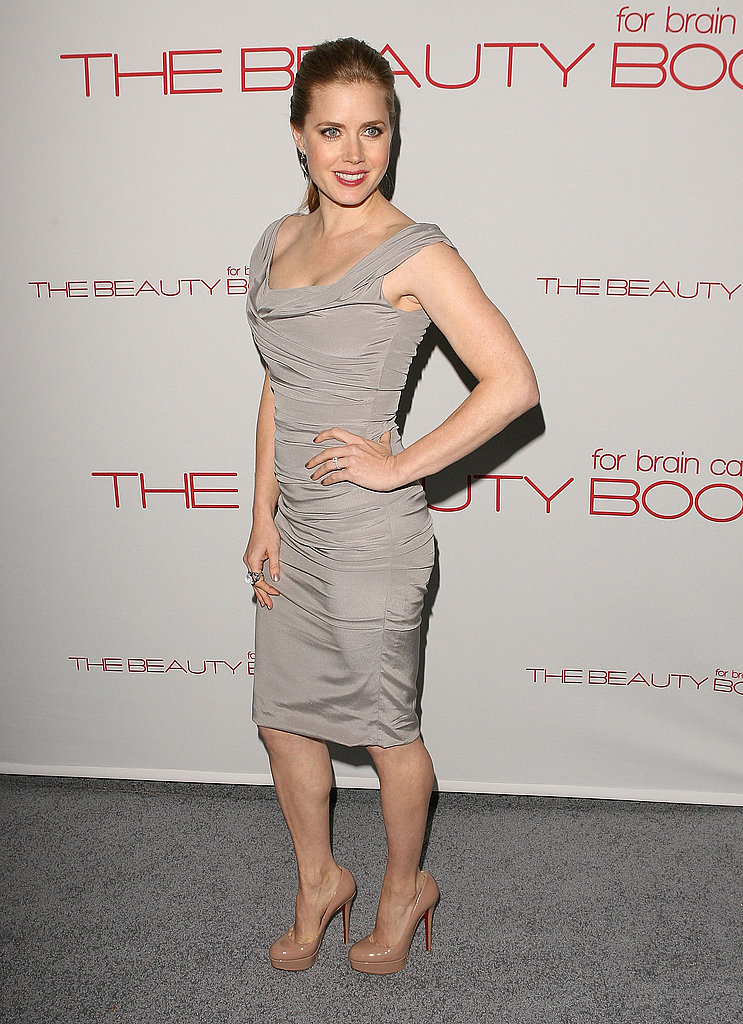 Amy Adams arrived in a chic gray dress.