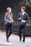 Emma Stone and Andrew Garfield noshed on the go.
