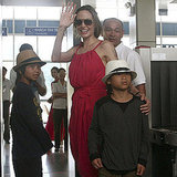 Angelina Jolie waved at the Con Dao airport with her sons Maddox and Pax Jolie-Pitt