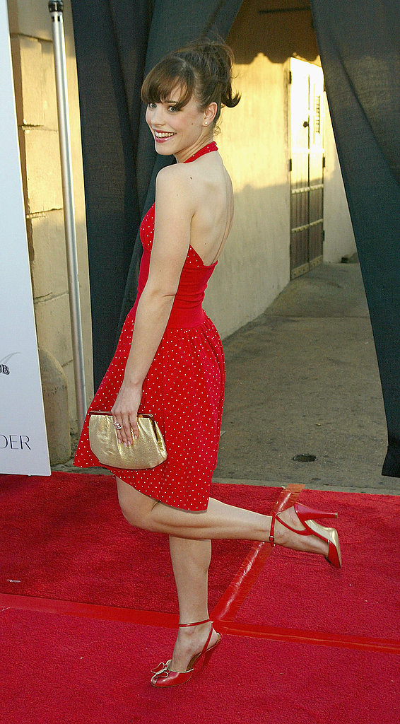 Rachel showed off a cherry-red dress and a bright smile at the Movieline Young Hollywood Awards in May 2004.