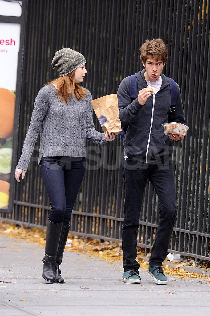 Emma Stone and Andrew Garfield had a quick lunch.