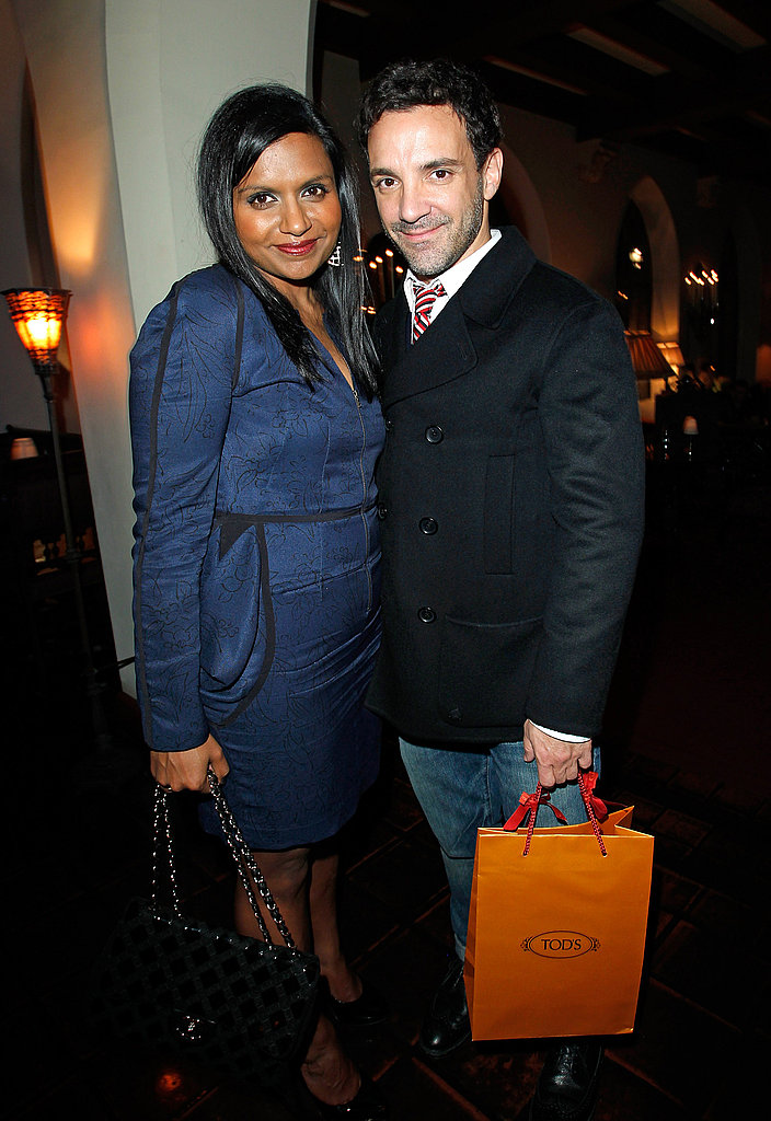 Mindy Kaling and George Kotsiopoulos left the party with Tod's goody bags.