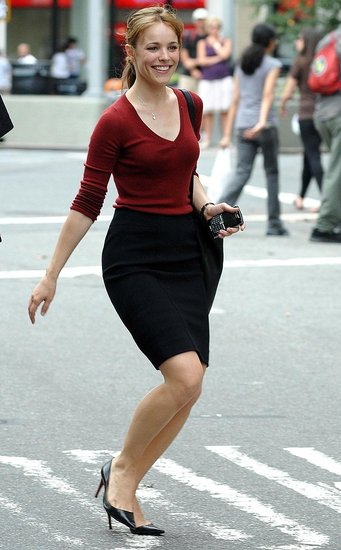 Rachel skipped across the street while on the NYC set of Morning Glory in June 2009.