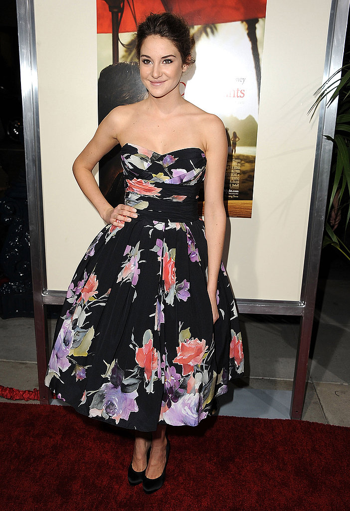 Shailene Woodley in a floral dress.