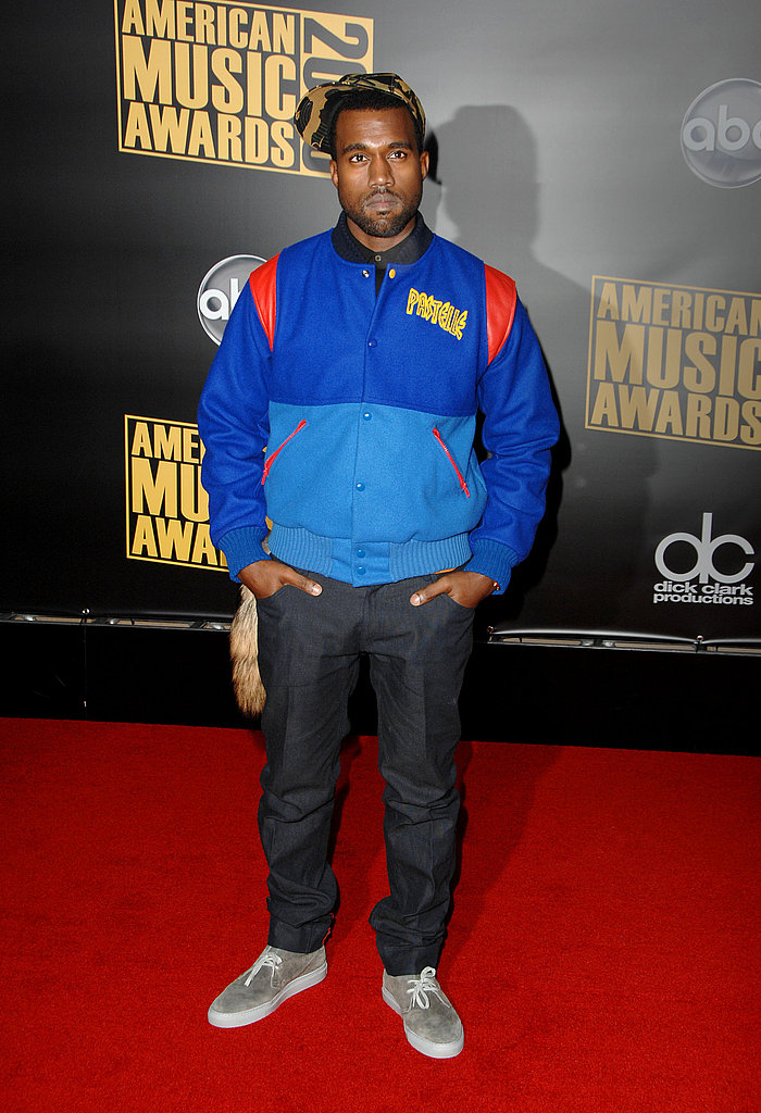 Kanye West posed on the red carpet in 2008.