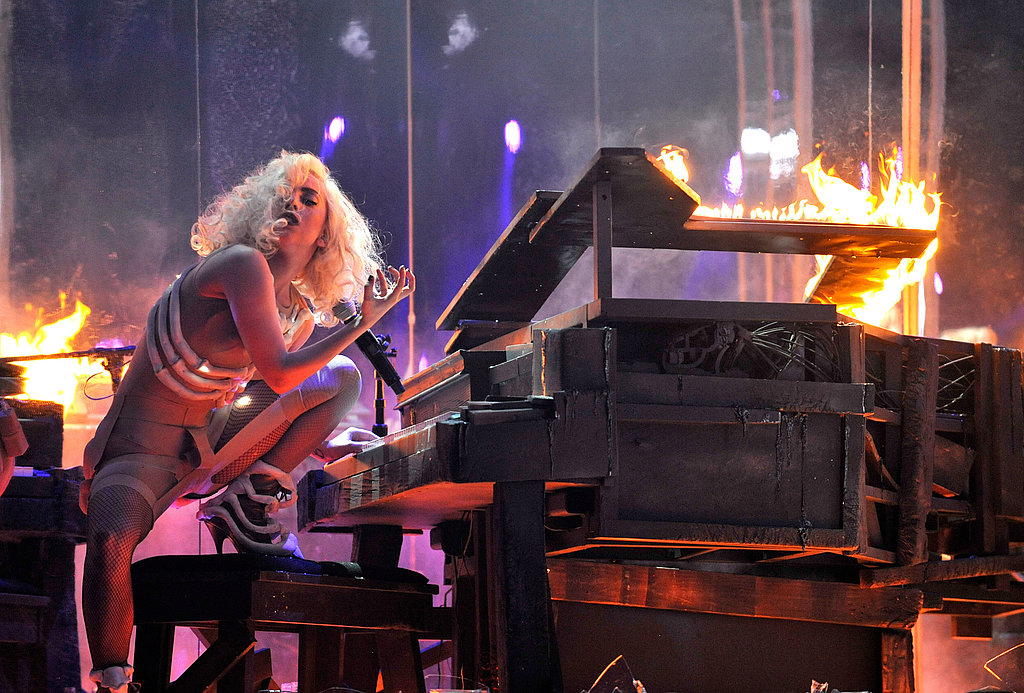 Lady Gaga performed with a fiery piano during the 2009 show.