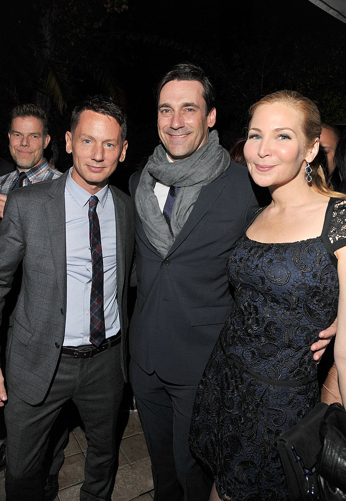 Jim Nelson stayed warm with Jon Hamm and Jennifer Westfeldt.