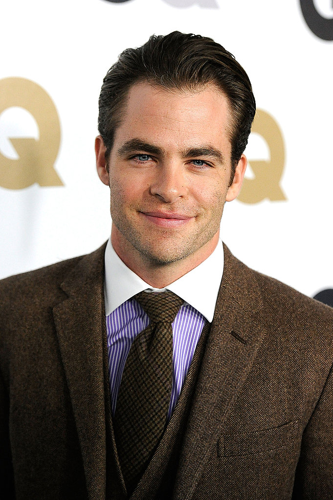 Chris Pine slicked his hair back for a party in LA.