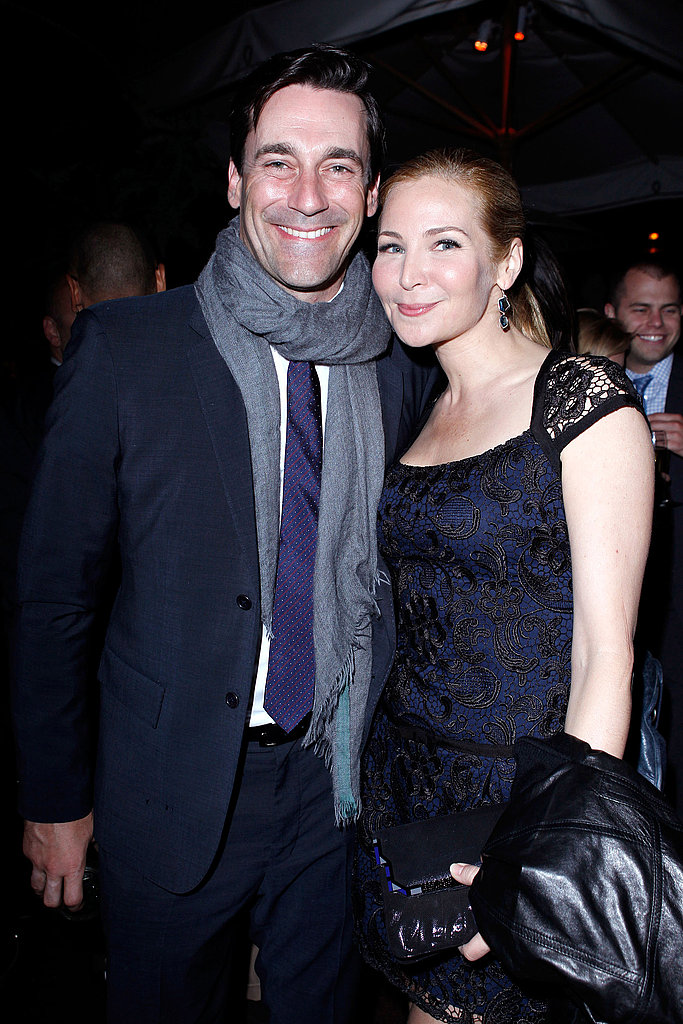 Jennifer Westfeldt wrapped Jon Hamm in a big scarf.