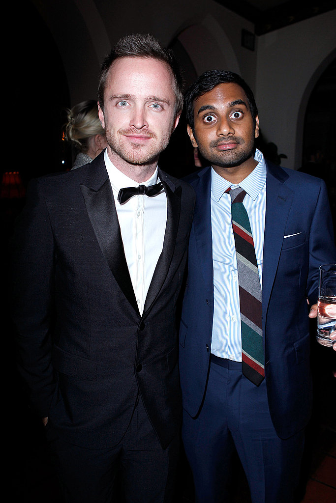Aaron Paul and Aziz Ansari got silly at the Chateau Marmont.
